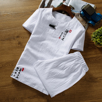 7 Colors Men's Short sleeved T shirt with Drawstring Shorts Cotton and Linen Fabric S 6XL Chinese Style Embroidery Men Sets