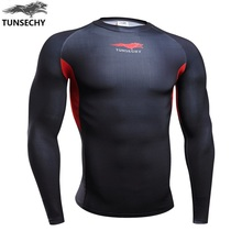 TUNSECHY 2017 new design brand men's shirts fit tight long-sleeved T-shirt compression clothing fitness exercise T-shirt