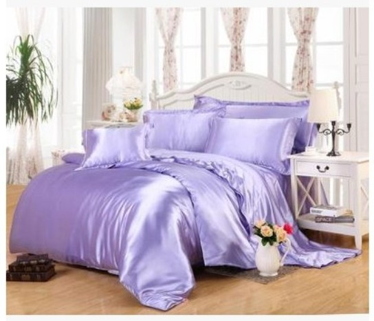 Light Purple Lilac Bedding Sets California King Size Queen Full Fitted Silk Satin  Bed Sheet Duvet