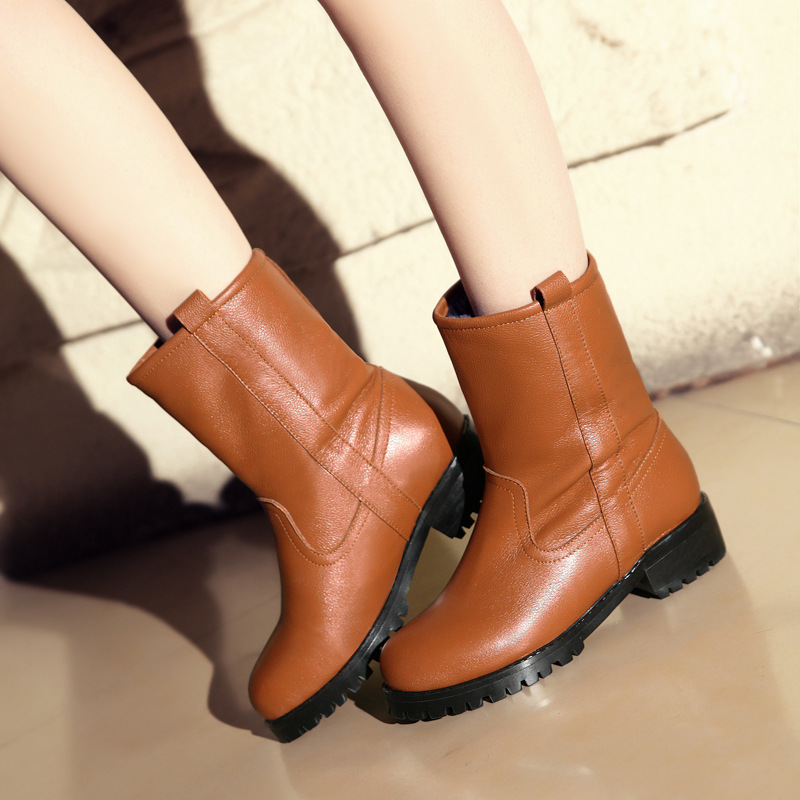 2015 New Arrival Women Autumn Winter Low Heel Genuine Leather Round Toe Fashion Warm Ankle Snow Boots Size 34-40 SXQ0826 women autumn winter genuine leather thick mid heel side zipper round toe 2015 new fashion ankle boots size 34 39 sxq0905