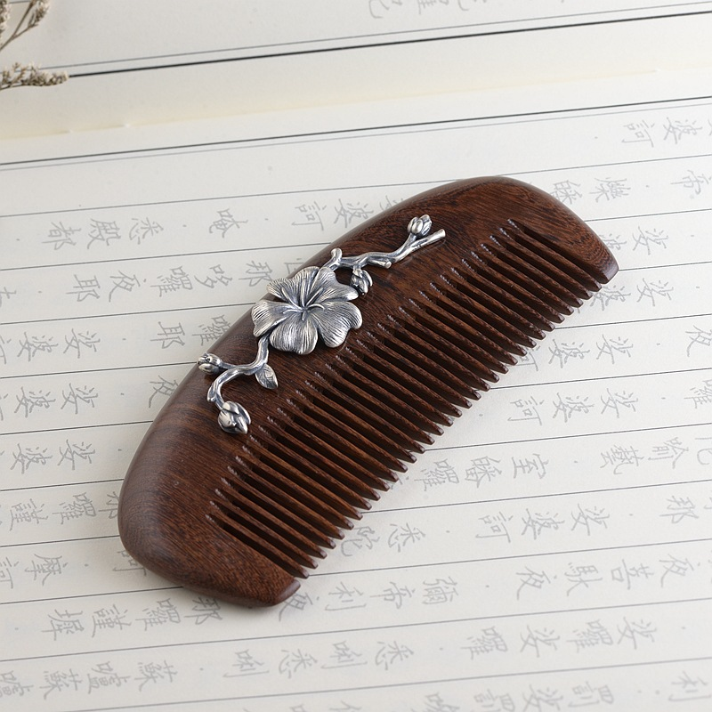 Thai Silver Ebony Hair Comb Vintage Silver Ginkgo Leaf Wooden Comb Leaf Chinese Style Jewelry Hair Accessories 12.5cm WIGO1303 leaf print twisted hair band