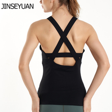 JINSEYUAN with Built in Bra Fitness Women Breathable Yoga Top Sexy Backless Stretchy Sports top Energy  Quick Dry gym tank