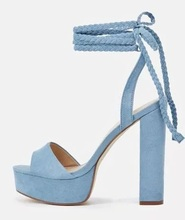 Suede Chunky Heel Sandals Women Platform