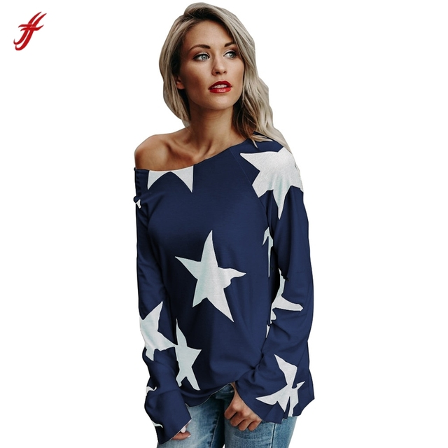 e682478e22be 2017 New Fashion Spirng AutumnWomen Girl Strapless Star T-shirt Long Sleeve  Crop Jumper Pullover Tops Plus Size XXL