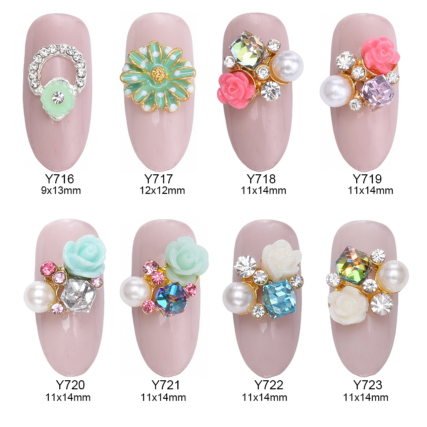 10pcs flower nail design glitter strass nail art decorations glass decorative tools stones for nails 3d nail jewelry Y716~723 opal rhinestones manicure 3d strass nail art decorations new arrival opal nail stones for nails design nagel decoratie zj1259