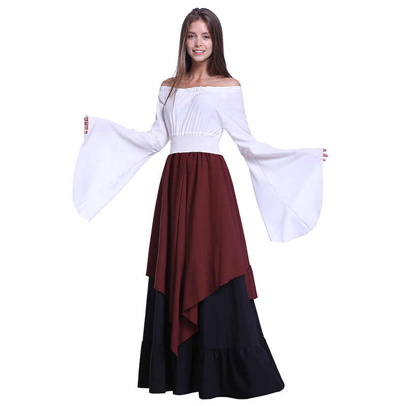 76cf22202df6 Adult Women Medieval Renaissance Peasant Costume Female Theater Gown Robe Dress  Clothes Historical Reenactment Outfit For