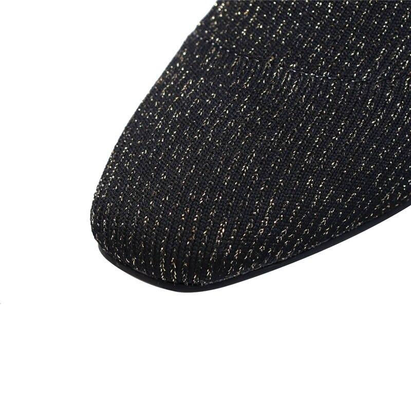Cheville Orteil Femmes Stretch Top argent Carré Qualité Chaussures Mode Chaussettes Sexy 2018 Automne Hauts Memunia Talons Or Bottes Robe Woma n0qp8xznS