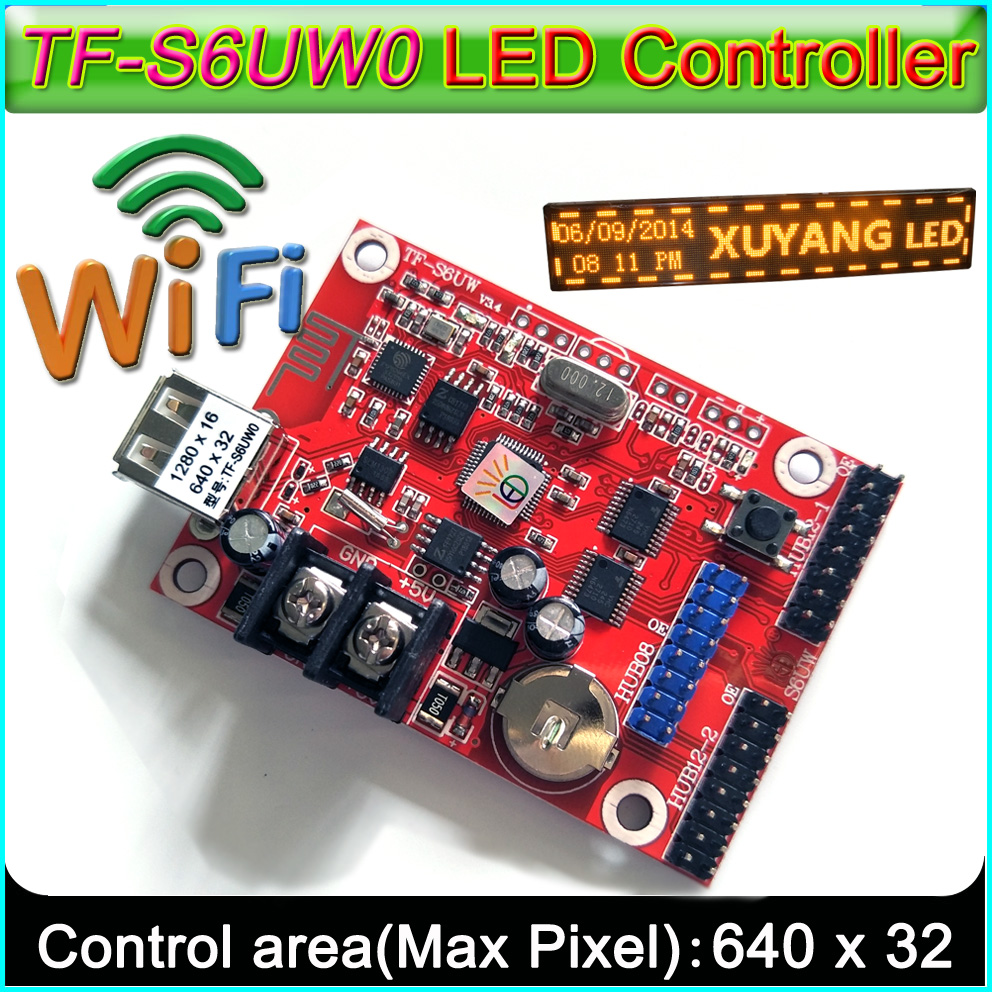 2019 New WIFI+USBcontrol <font><b>card</b></font>,TF-S6UW0 <font><b>P10</b></font> <font><b>LED</b></font> <font><b>Module</b></font> Panel <font><b>LED</b></font> sign <font><b>control</b></font> <font><b>card</b></font>, Suitable for single&double color image