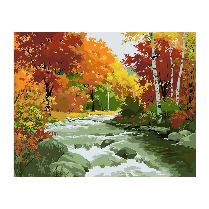 with Frame Paint by Numbers Kits DIY Oil Painting Home Decor Wall Value Gift-Four Season Tree 16X20 Inch
