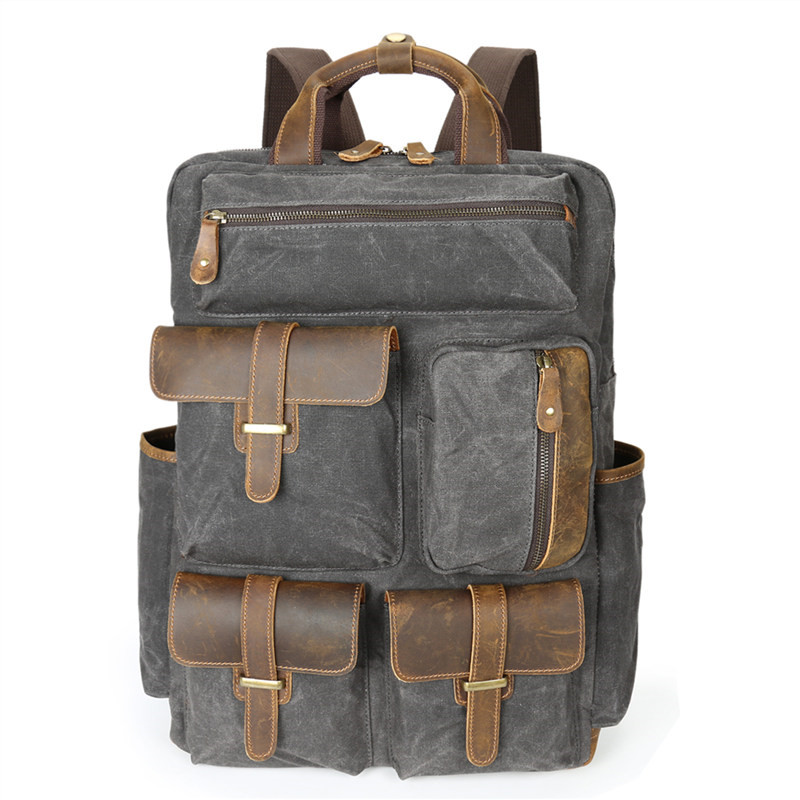 Nesitu Vintage Large Capacity Grey Coffee Army Green Canvas 14'' Laptop Women Men Backpack Men's Travel Bags #M5351