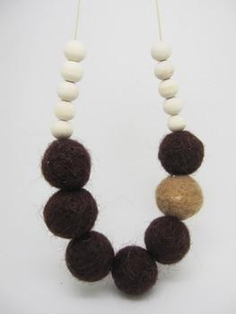 Fade Felt necklace ball  light coffee and dark coffee felt ball wooden beaded necklace NW491