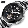 Fashion Luxury Brand LIGE Men Watch Tourbillon Hollow Calendar Automatic Mechanical Watch Male Casual dress Clocks Relogio 2016