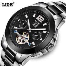 Marca de moda de Lujo LIGE Hombres Reloj Tourbillon Calendario Reloj Mecánico Automático Hueco vestido Relojes Relogio Masculino Ocasional 2016