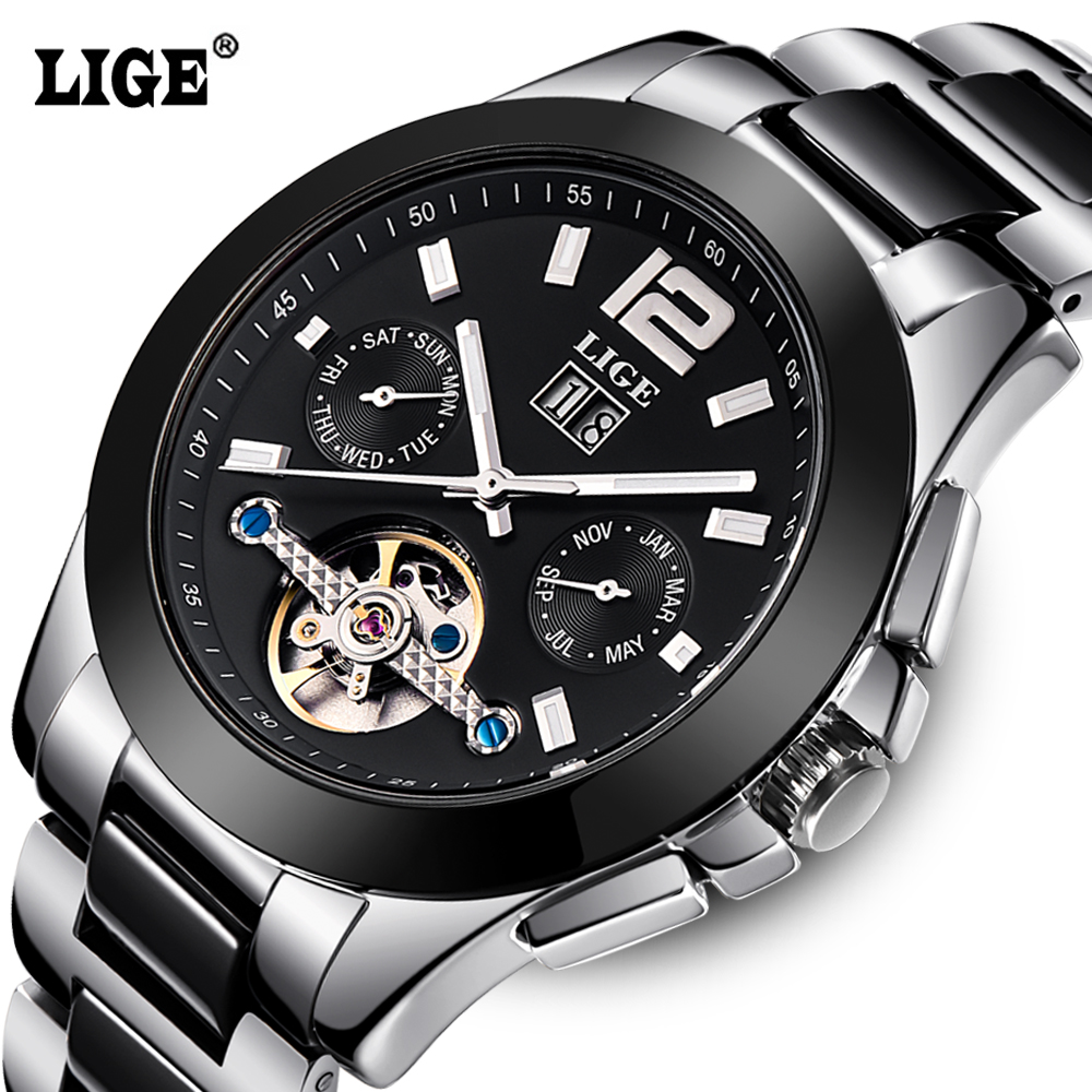 Prix pour Mode De Luxe Marque LIGE Hommes Montre Tourbillon Creux Calendrier Automatique Montre Mécanique Mâle Occasionnel robe Horloges Relogio 2016