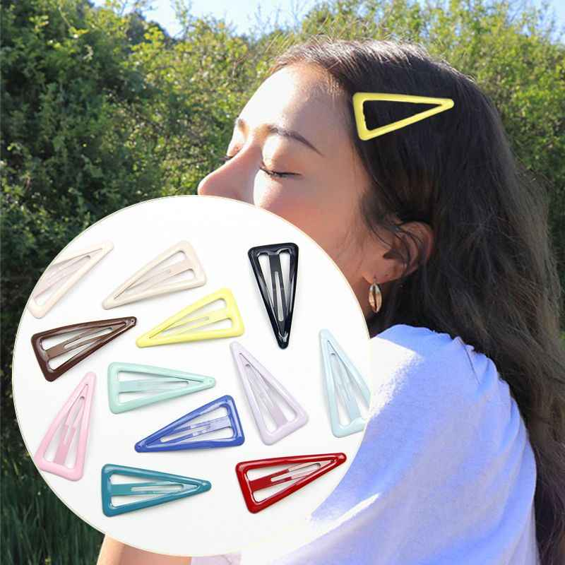 1PCS Lovely Cartoon Triangle Type Metal Candy Color Girls Hairpins Hair Clip Kids Headwear Children Accessories Baby BB Clips