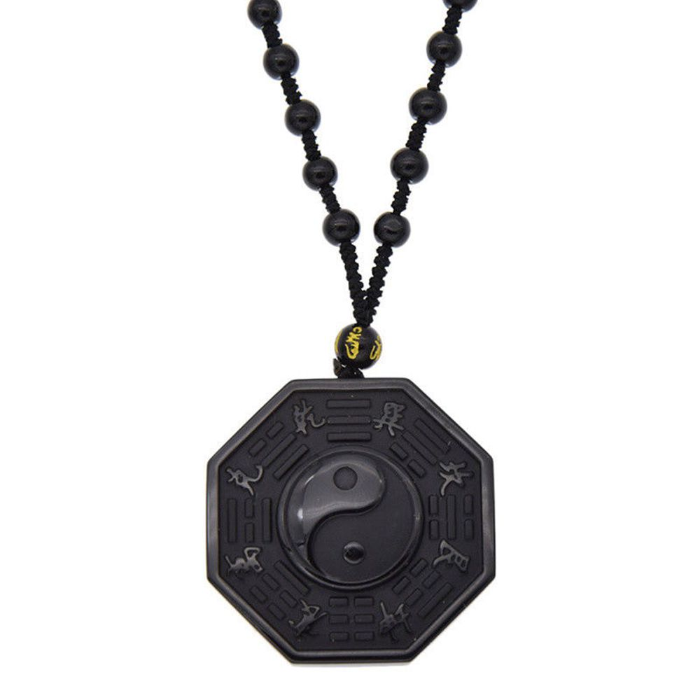 Obsidian Carved Yin Yang Ba Gua Necklace 1