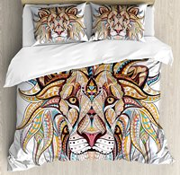 Lion Duvet Cover Set Grunge Ethnic Themed Lion Head with Swirls Orinental Art Designed Pattern 4 Piece Bedding Set