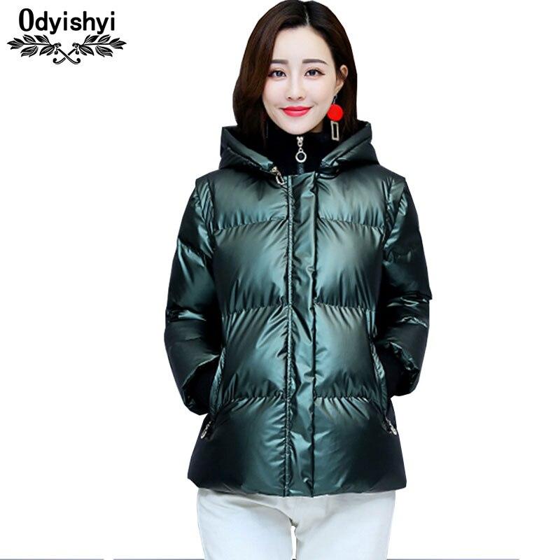 Down Cotton Jacket Women 2019 Winter Thick Glossy Short Coat Detachable Hat Small Jackets Bomber Street