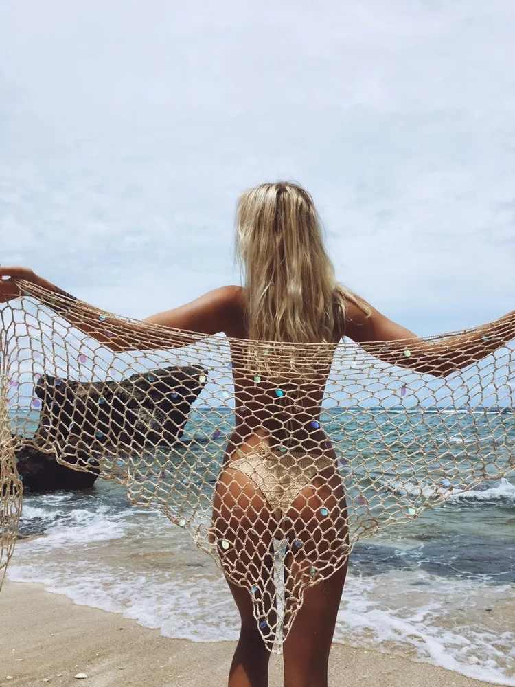 נשים סקסיות נצנצים כיסוי עד 2018 מכירה חמה Fisnet לקדש מתוך סרוגה שמלת Mesh ביקיני לחפות בגדי ים החוף