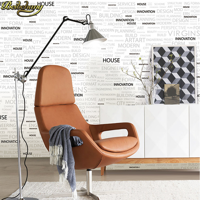 Купить с кэшбэком beibehang home decor Flock Words Textured Letters wallpaper for wall covering Home Decoration papel de parede 3d wall paper roll