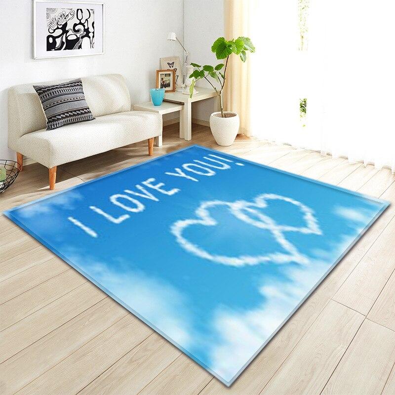 3D nuage ciel impression tapis Rectangle zone tapis moderne cuisine tapis anti-dérapant salle de bain tapis maison couloir paillasson saint valentin