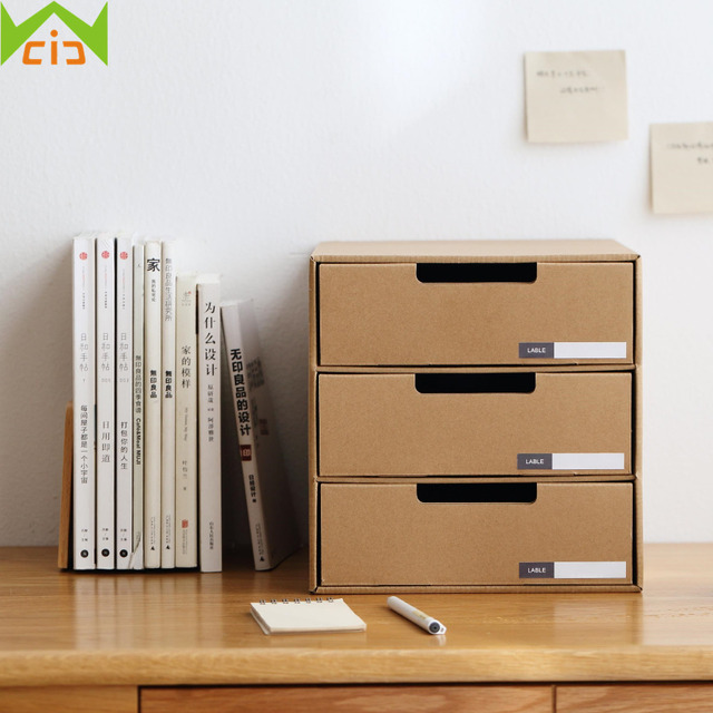 WCIC DIY Kraft Paper Storage Boxes Bins Office Stationery Holder