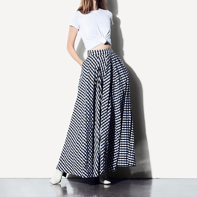 2a78c3a7f9c WBCTW Maxi Plaid Woman Skirts 2018 Spring Summer Juppe Taille Haute Swing  Long Runway Black Skirt 9XL 10XL Plus Size Faldas