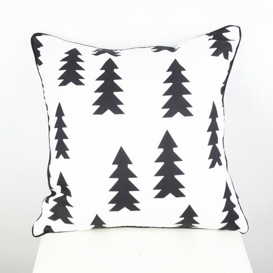 45 * 45 cm capa de almofada Rumah Tekstil Hitam dan Putih Pohon Natal - Tekstil rumah