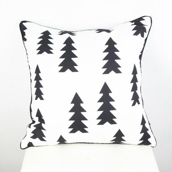 Funda de colchón de 45*45 cm,Textiles para el hogar, Funda para cojín con árbol de navidad en blanco y negro, Funda decorativa Ikea de almohadones para el sofá