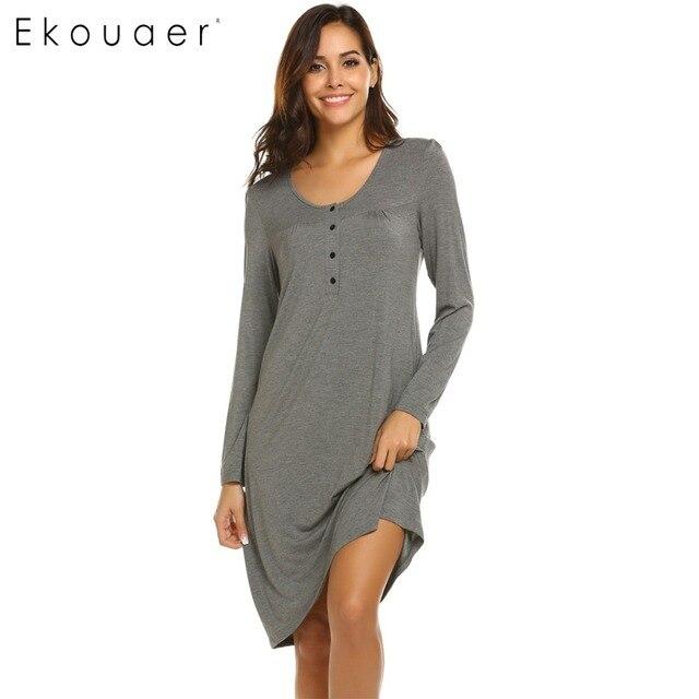 404131cb39604 Ekouaer Nightgown Sleepwear Long Sleeve Night Dress Women Solid Breastfeeding  Nightdress Maternity Nursing Dress Nightwear