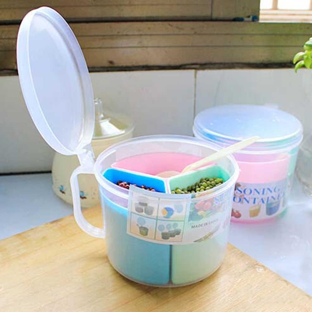 حار جديد البلاستيك التوابل صندوق تخزين القهوة الشاي السكر الحاويات وعاء مختومة علب المحمولة 3 شبكة المطبخ التوابل مع ملعقة