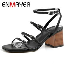 ENMAYER New Fashion Genuine Leather Office & Career  Basic High Heels Sandals Women 2019 Summer Shoes Size 34-39 LY1518