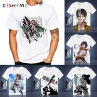 Coshome Angriff auf Titan t-shirt Shingeki Kein Kyojin Mikasa Levi Cosplay T-shirts Kostüme Männer Frauen Kurzarm Sommer Tees Tops