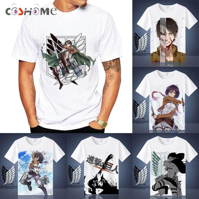 3173a7865 Coshome camiseta Shingeki no Kyojin Ataque em Titan Mikasa Levi Cosplay  Trajes Das Mulheres Dos Homens