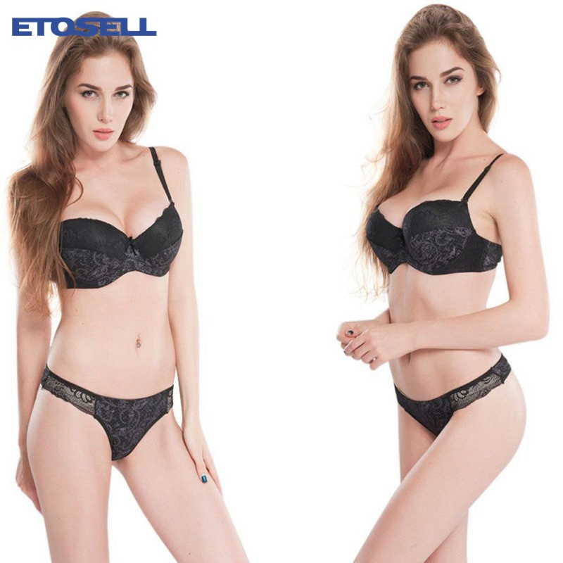 Women Sexy Lace Embroidered Padded Lingerie Push up Bra sets Sexy Lingerie Set Plus Size 34/36/38/40 jeaz