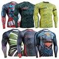 Camisa Rashgarda MMA dos homens De Manga Longa De Compressão Calças Justas Alta Respirável Quick Dry Multi-funcional Bodybuild Aptidão Tops