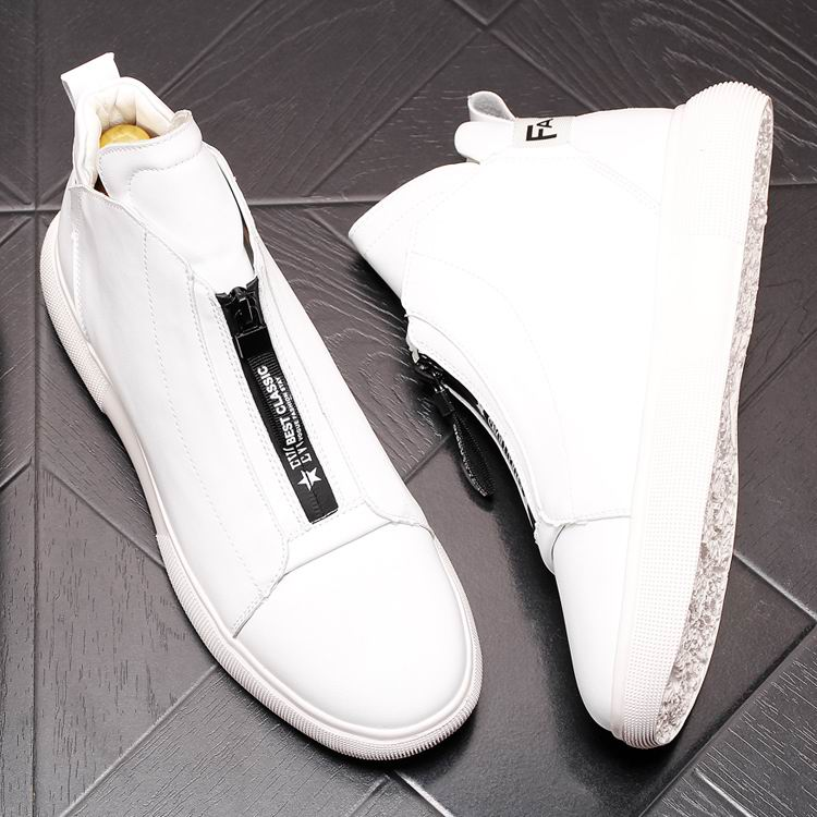 ERRFC Luxury Men's Gold Leisure Shoes Fashion Designer High Top Zip Man Casual Comfort Shoes For Show White Vogue Party Shoes 43 14