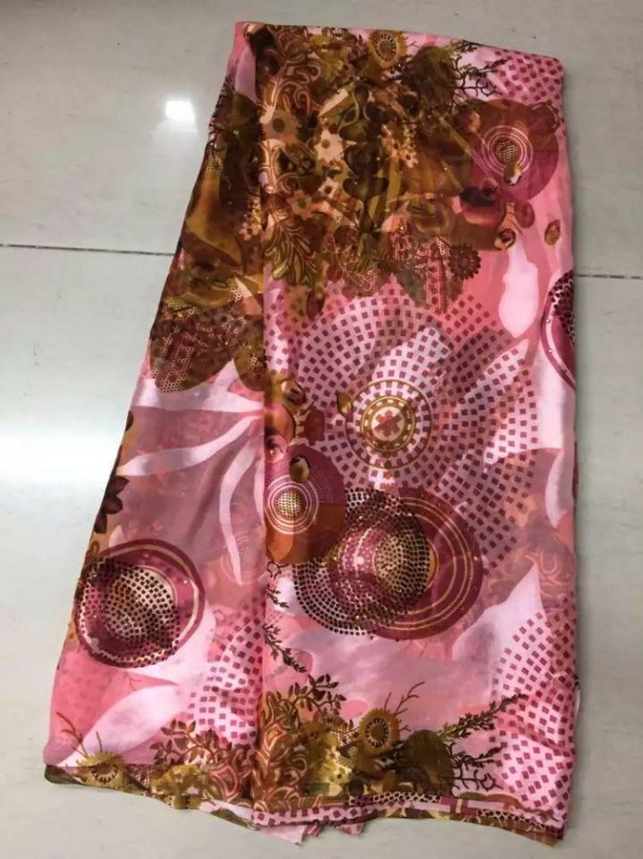 5Y/pc joli rose élastique imprimé motif en mousseline de soie africaine lisse et doux tissu de dentelle de soie avec strass JS16-2