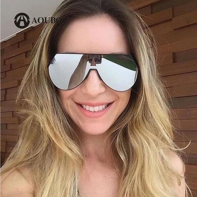 AOUBOU Moda Una Lente gafas de Sol de Mujer de Marca Diseñador Piloto Gafas de Sol de Los Hombres de Gran Tamaño Shades Gafas de Sol Feminino mujer 6230