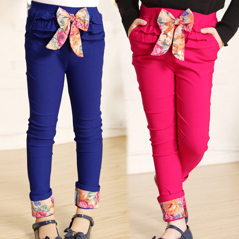 Teenage Girls Pants Cotton Floral Print Trousers For Girls Children Clothing 2017 Spring Autumn Skinny Pants