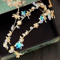 Новая мода Богемия Стиль прекрасный ручной Crystal Star Стрекоза Цветок сладкий Золотой Свадебные оголовье аксессуар для волос