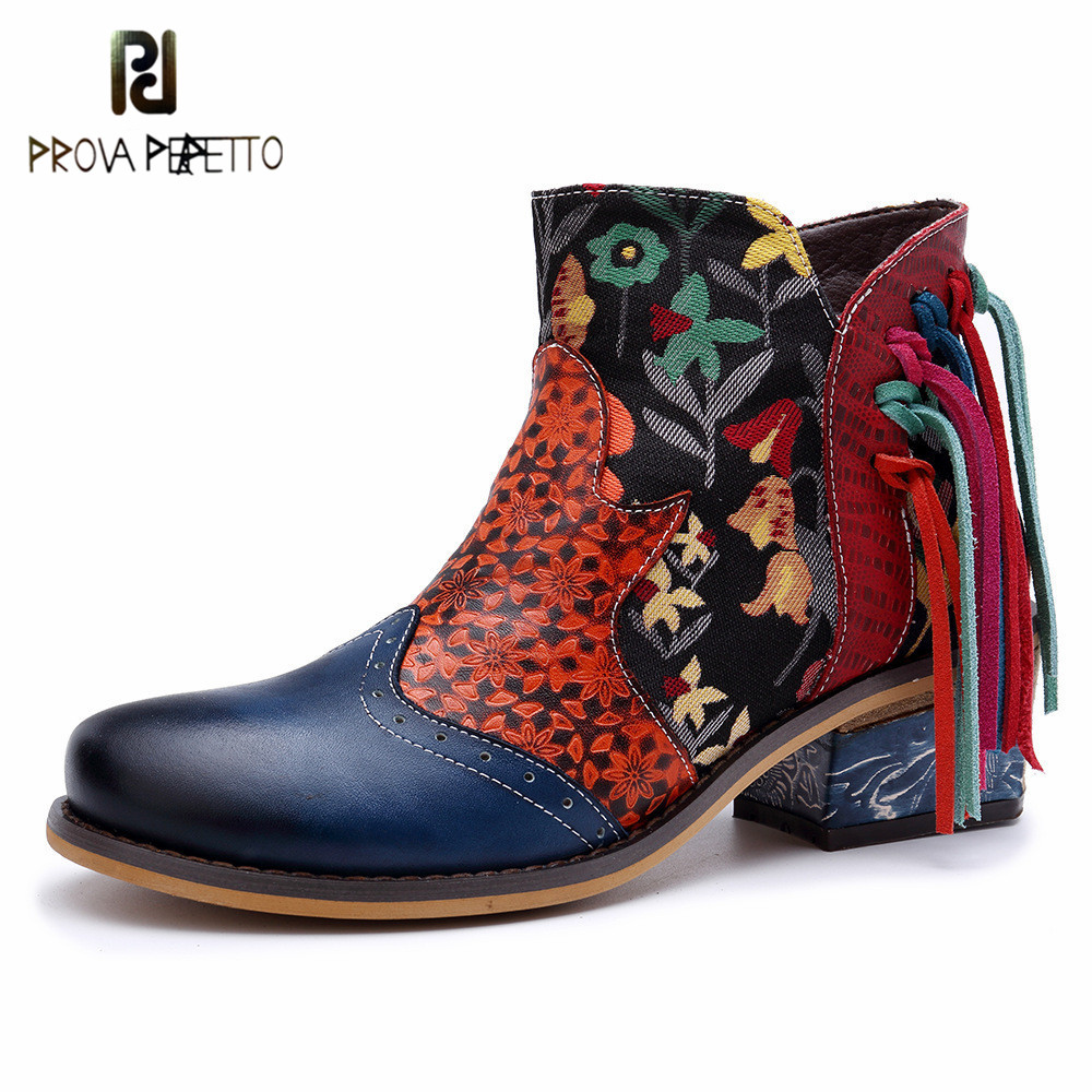 Prova perfetto 2019 New Retro Bohemian Woman Ankle Boots Flower Print Low Heels Luxury Design Soft