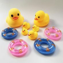 Bath ducks toy swim rings Cute Baby Girl Boy Bathing Classic Toys Rubber Duck with sound life buoy Floating Duck fun baby toy(China)