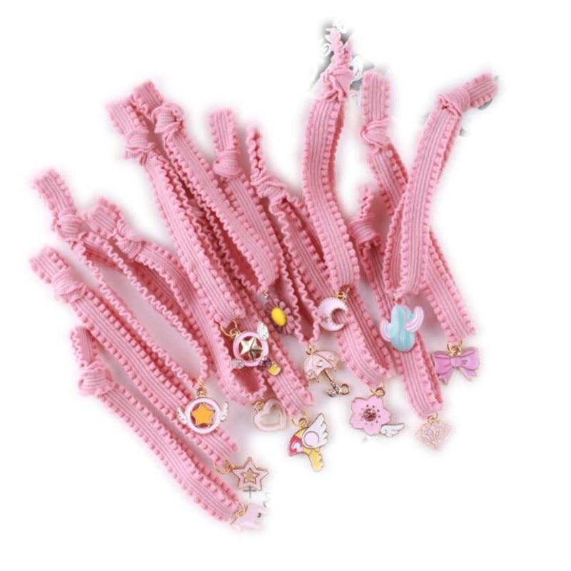 Anime Card Captor Sakura Sailor Moon Cosplay Costumes Accessories Headwear Cute Girl Pink Lace Rubber Band Hair Band