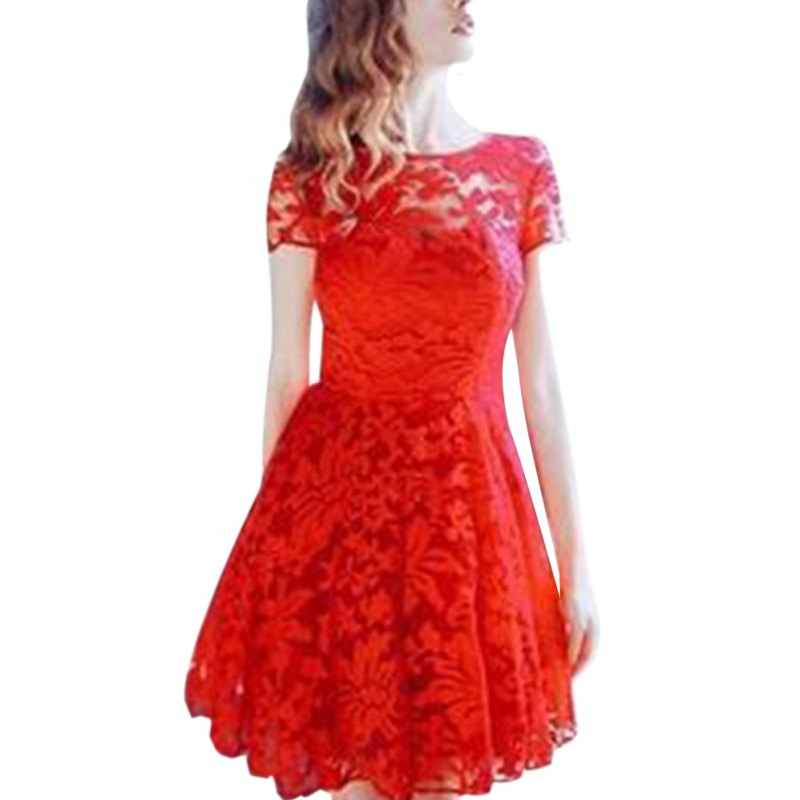 ... Summer Women Floral Lace Dresses Short Sleeve Party Casual Color Blue  Red Black Mini Dress