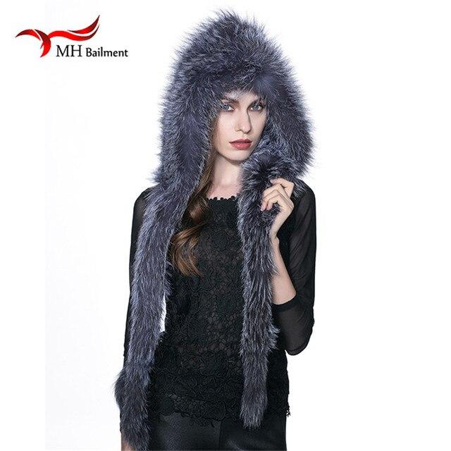 MH Real Fox Knitted Fur Hat Winter Winter Warm Genuine Fox Fur Scarf Hat Women Winter fashion Casual Knit Hooded Cap Russia W#09