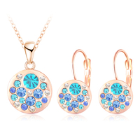 Luxury Jewelry Crystal Suit Girls Women 18K Rose Gold Plated Round Style Pendant Earrings Sets Parure
