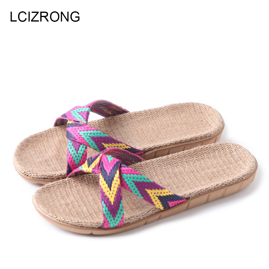 LCIZRONG Summer 13 Colors Flax Home Slippers Women 35-45