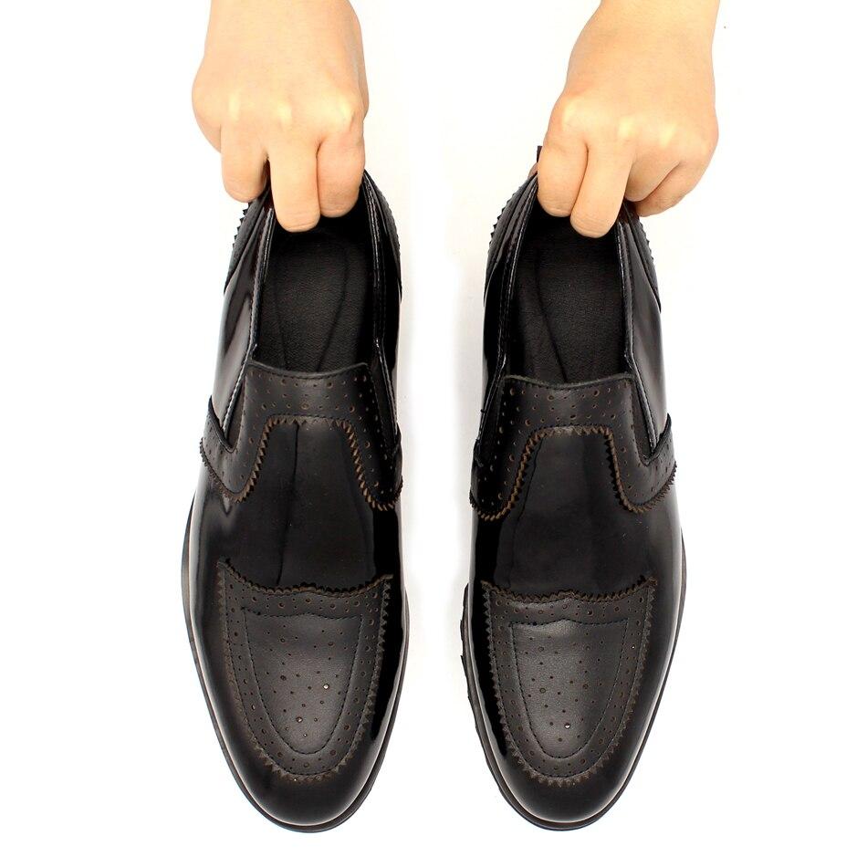 Hauteur Peau Semelles Style Top Qualité En Sur À Cuir Plat Hommes Chaussures Shown Vache Croissante forme As Plate De Noir Épaisses Slip Sculpté Européen 7gyYb6vf