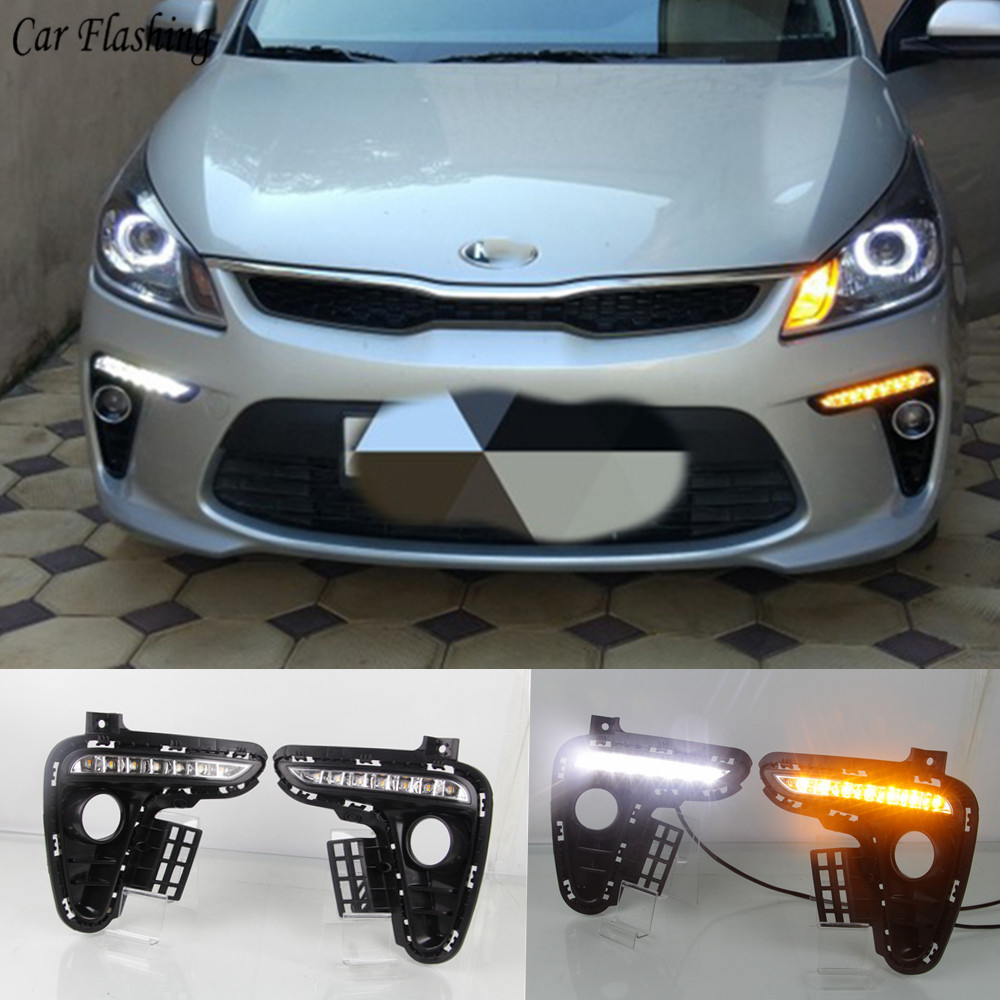 Car DRL 12V LED Daytime Running Light Daylight fog lamp For Kia Rio K2 2017 2018